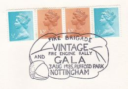1985 Nottingham GB Stamps COVER EVENT Pmk  FIRE BRIGADE VINTAGE RALLEY RUFFORD PARK Firefighting Firemen - Firemen