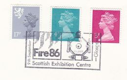1986 Glasgow GB Stamps COVER EVENT Pmk FIRE EXHIBITION Illus FIRE ALARM  Fire Safety Firefighting - Firemen