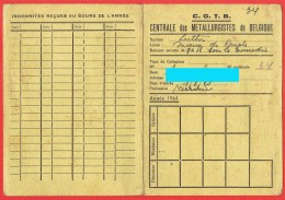 Carnet De Membre - C. G. T. B. - Centrale Des Métallurgistes De Belgique - 1944 - 1945 - Section De Luttre    (4159) - Organisaties