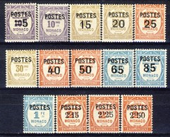 Monaco 1937 Serie N. 140-153 Tasse Soprastampate MLH Catalogo € 103 - Monaco