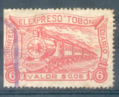 EL EXPRESO TOBON CORREO DIARIO COLOMBIA CORREO PRIVADO PRIVATE COURIER AÑO 1928 TIMBRE USADO MATASELLO VIOLACEO 6 CENTAV - Trenes