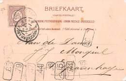 1876.- CARTE POSTALE PRIVÉE AVEC 10 MARQUES DE POSTIERS - Marcofilia