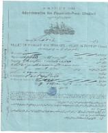 ADMINISTRATION DES PAQUEBOTS-POSTE KEDIVIE N°38 P.P.  BILLET DE PASSAGE DES BUREAUX-DE PONT (3è Classe) 1896 - Billetes De Transporte