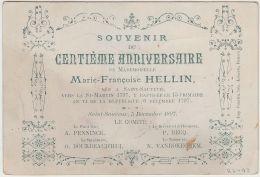 26493g  MARIE FRANCOISE HELLIN - CENTIEME ANNIVERSAIRE - Saint-Sauveur - 1897 - Frasnes-lez-Anvaing
