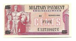 MILITARY PAYMENT CERTIFICATE - 5 CENTS 1970 UNC / SERIE 692 - Military Payment Certificates (1946-1973)