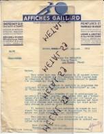 2 Factures Affiches Gaillard, Imprimerie à Amiens, Paris, 1936 - Non Classés
