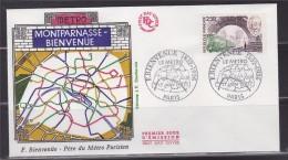 = Hommage à Fulgence Bienvenue Créateur Du Métro Enveloppe 1er Jour Paris 17.1.87 N°2452 Portrait Et Rame De Métro - Transport