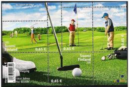 Finlandia/Finlande/Finland: Giocatori In Azione, Players In Action, Joueurs En Action, Foglietto, Block, Bloc - Golf