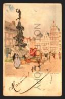 ANVERS GRAND PLACE ARTIST SIGNED HEUSSIERS Vintage Original Ca1900 POSTCARD CPA AK (W4_2690) - Belgique