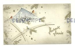 Mignonnette. Bonne Année. Rouges-gorges Et Mésange, église Dans La Neige. 1960. 6,5/11 Cm - Nieuwjaar