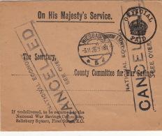 Rare Lettre Officiel On His Majesty's Service >> Official Paid >> Au Dos Lettre Collé Avec Adresse Army Post Office - 1902-1951 (Rois)