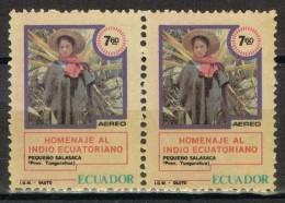 Par De Sellos ECUADOR Aereo, Homenaje Indio Ecuatoriano, Salasaca ** - Equateur