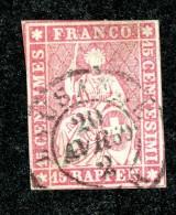 10078  Switzerland 1862 Zumstein #24G  (o)  Michel #15 IIBym - Usados