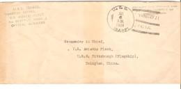 USA Cover From U.S.S Isabel Yangtze Patrol U.S.Asiatic Fleet C.Jul 6 1928 To Tsingtao China Shangai PR3005 - Etats-Unis