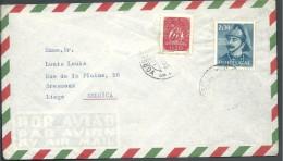 ! - Portugal  - 2 Timbres Sur Enveloppe - Envoi Par Avion De Lisboa Vers Liège (Belgique) - 1910-... République