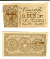 Vittorio Em. III, Buono Di Cassa Da 2 Lire, 21/09/1914 - [ 1] …-1946: Königreich