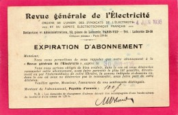 Revue Générale D'Electricité, 1936, Abonnement - Français