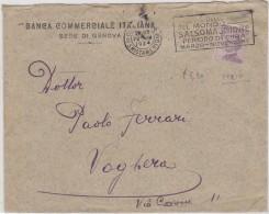 "1924 Genova  Targhetta ""Salsomaggiore""  Su Busta - 1900-44 Victor Emmanuel III"