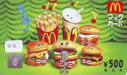 CARTE McDonald's JAPON (212)  MacDonald's * McDonald´s   JAPAN *  U CARD * - Publicidad
