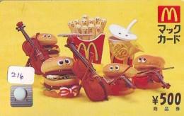 CARTE McDonald's JAPON (216)  MacDonald's * McDonald´s   JAPAN *  U CARD * - Advertising