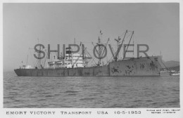 Transport Américain EMORY VICTORY - Carte Photo éd. Marius Bar - Bateau/ship/schiff - Cargos