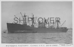 Cargo Américain RUDGERS VICTORY - Carte Photo éd. Marius Bar - Bateau/ship/schiff - Cargos