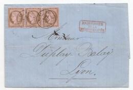 -  Lettre - MARITIME - BFE RARE - CONSTANTINOPLE Bande De Trois Du TP Cérès N°54 Oblitérée à L'arrivée - VOIR - 1871-1875 Ceres