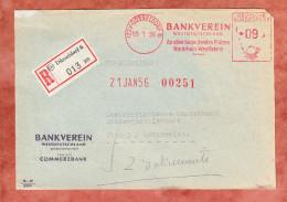 Vorderseite, Einschreiben Reco, Absenderfreistempel, Bankverein Westdeutschland, 90 Pfg, Duesseldorf 1956 (29193) - BRD