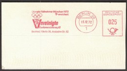 Germany Berlin 15.12.1972. Olympic Games Munich 1972 / Health Insurance / Machine Stamp - Estate 1972: Monaco