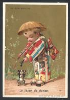 """Ancien Chromo Publicitaire - Magasin AU BON MARCHE - """"La Leçon De Danse"""" - Enfant -Chien - Fond Doré - Vallet Minot   // - Au Bon Marché"""