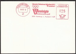 Germany Hamburg 18.12.1972. Olympic Games Munich 1972 / Health Insurance / Machine Stamp - Estate 1972: Monaco