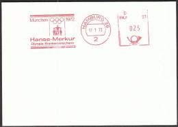 Germany Hamburg 17.1.1973. Olympic Games Munich 1972 / Hanse-Merkur, Health Insurer / Machine Stamp - Estate 1972: Monaco