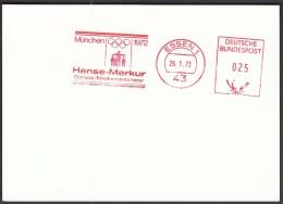 Germany Essen 26.1.1973. Olympic Games Munich 1972 / Hanse-Merkur, Health Insurer / Machine Stamp - Estate 1972: Monaco
