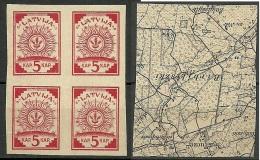 LETTLAND Latvia 1918 Michel 1 In 4-block (*) Inverted Map ! Kopfstehende Karte ! - Latvia