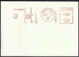 Germany Munich 4.3.1974. Olympic Games Munich 1972 / Post Paid / Machine Stamp - Estate 1972: Monaco