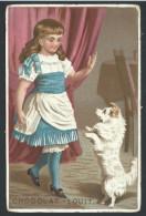 Ancien Chromo Publicitaire - CHOCOLAT LOUIT - Enfant Fille Girl - Chien Dog   // - Louit