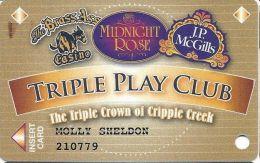 Midnight Rose/JP McGills/Brass Ass Casinos CO - Triple Play Card - CPICA 2033456 - Casino Cards