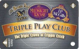 Midnight Rose/JP McGills/Brass Ass Casinos CO - Triple Play Card - CPICA 2033455 - Casino Cards