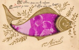 55Nja   Montage Photo Couple Dans Poisson Doré Gauffré Ajoutis Découpis Art Déco - Couples