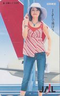 Carte Prépayée Japon - Femme & Avion Aviation - Airlines JAL & Girl - Japan Prepaid Tosho Card - 87 - Airplanes