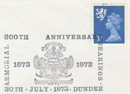 1973 Dundee GB Stamps COVER EVENT Pmk 300tha Nniv ARMORIAL BEARINGS Illus DRAGON Dragons Scottish Regional - Mythology