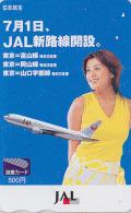 Carte Prépayée Japon - Airlines JAL Hôtesse De L´air - Japan Prepaid Tosho / Femme Girl Avion Aviation - 2013 - Aerei