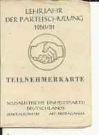 DDR   --  DEUTSCHE DEMOKRATISCHE REP.   --  TEILNEHMERKARTE  --  1950 / 51   --  OSSA - Documents Historiques