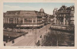 BELFORT    TERRITOIRE DE BELFORT  90  CPSM  COLORISEE  PONT SUR LA SAVOUREUSE ET BOULEVARD CARNOT - Beaucourt
