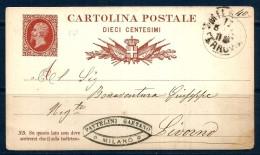 10 CENT. REGNO Cartolina Postale Vg Per  Livorno - 1861-78 Vittorio Emanuele II