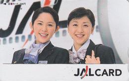 Carte Prépayée Japon - Airlines JAL Hôtesse De L'air - Japan Prepaid Tosho Card / Femme Girl Avion Aviation - 2023 - Avions