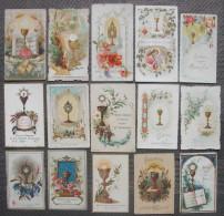 VERS 1900 : LOT 15 IMAGES PIEUSES CHROMOS DIFFERENTS SOUVENIR DE 1ère COMMUNION HOLY CARDS X 15 / LOT SANTINI - Imágenes Religiosas