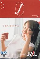 Carte Prépayée Japon - JAL JAPAN AIRLINES Prepaid Quo Card - Airplane Flugzeug Avion / Femme Girl - 2029 - Avions