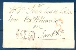 1802 , MURCIA , D.P. 21 , ENVUELTA CIRCULADA ENTRE HELLIN  Y SAN PEDRO , MARCA PREF. Nº 1 EN NEGRO, PORTEO - Spain