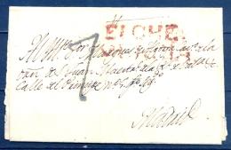1799 - 1823 , MURCIA , D.P. 21 , ENVUELTA CIRCULADA ENTRE ELCHE  Y MADRID , MARCA PREF. Nº 3 , PORTEO - Spain